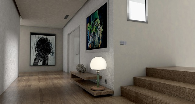 chodba, schody, lampa, obrazy