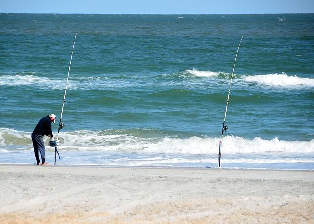 moře, muž, rybářské pruty